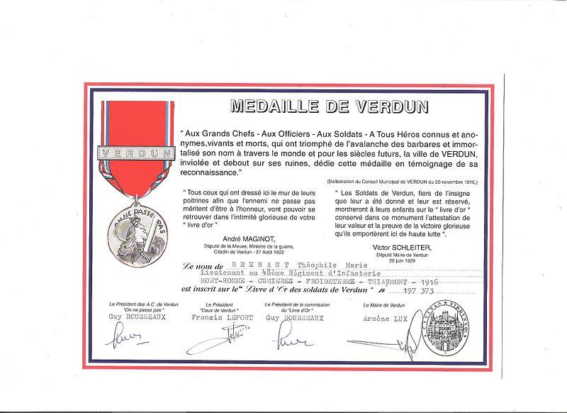 688c1410b9dc15 LA MEDAILLE COMMEMORATIVE DE LA BATAILLE DE VERDUN  diplome de verdun du lieutenant brebant1-300x218