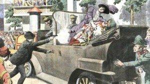 assassinat de françois ferdinand et de son épouse ( dessin du petit journal )