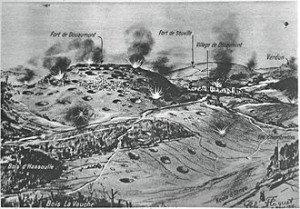 illustration montrant les combats autour de Verdun: Le Miroir 1916