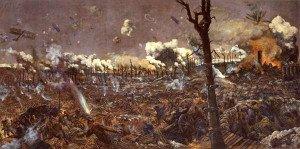 Bataille de Cpourcetlle-peinture de L.A. Weiter en 1918