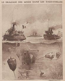 dragage des mines dans les dardanelles en 1915-tflotte franco-britannique