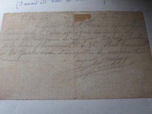 justification signée G. Comte pour Henri Cabrol
