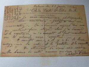 lettre à sa Tante en 1911