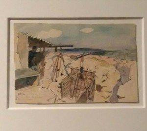 """devant Verdun,1916,observatoire  """"cote 344"""" - aquarelle de Maurice Toussaint - Mémorial de verdun"""
