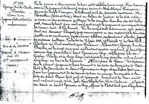 Jugement décés de Georges NOOURTIER en 1920